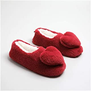 Warm Short Plush Silky Three-Dimensional Flower Love Cotton Mop Indoor Non-Slip Bag with Cotton Shoes Home Shoes Memory Foam Booties Slip-on Fur Lining/Non-Slip (Color : Red, Size : 38-39)
