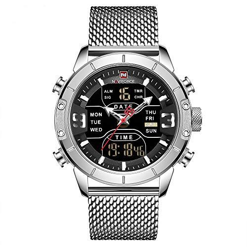 NAVIFORCE Orologio da uomo, quarzo analogico LCD digitale 3ATM impermeabile bracciale in acciaio inossidabile moda sottile minimalista orologio da polso casual 9153 (SB)