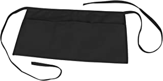 Waist Apron with 3 Pockets Poly Cotton Commercial Restaurant Home Bib Spun, comes in 1, 3, 6, 12, 50, 100-Pack, Black, Green, Navy, White, Royal, Red (1, Black)