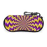 Gafas de sol caso caso de gafas con clip de cinturón colorido espiral ilusión óptica cremallera gafas portátil bolsa