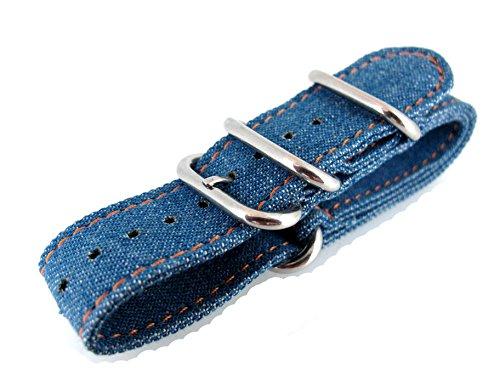 JRRS7777 Toile 20 mm Bracelet Montre sport Armée Bleu Jeans Denim Motif professionnel Zoulou