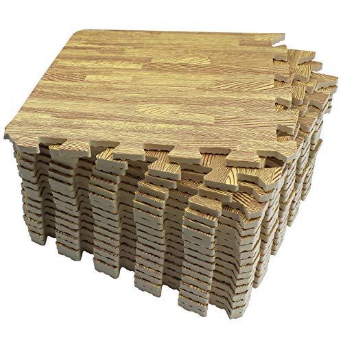Amazon Brand - Umi Tapis de sol en mousse à emboîtement Tapis de puzzle en grain de bois (léger, 18 pièces-18 pieds carrés)