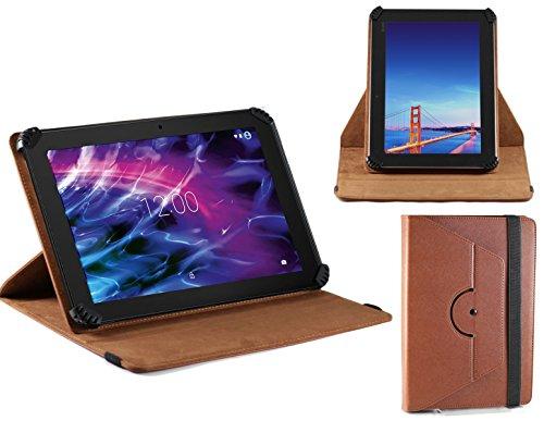 Navitech Braun 10 Zoll rotierbares Stand Case Cover Etui Hülle für das MEDION LIFETAB P10356 (MD 99632) Tablet 10.1
