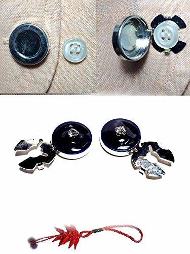 Artesanal 1 par de cubrebotones 18 mm Esmalte Azul Strass Cristal baño Plata Brillante cubrebotones Joyas Hombre de Regalo Llavero
