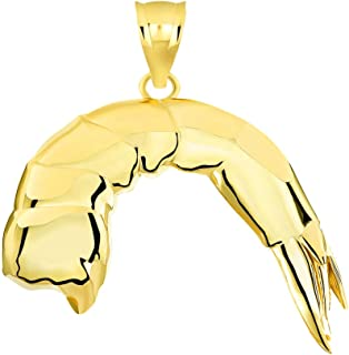 Certified 14k Gold Headless/Shell-On Shrimp Ocean Seafood Charm Pendant