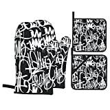 Juego de 4 Guantes de Horno y agarraderas,Graffiti Street Art Hip...
