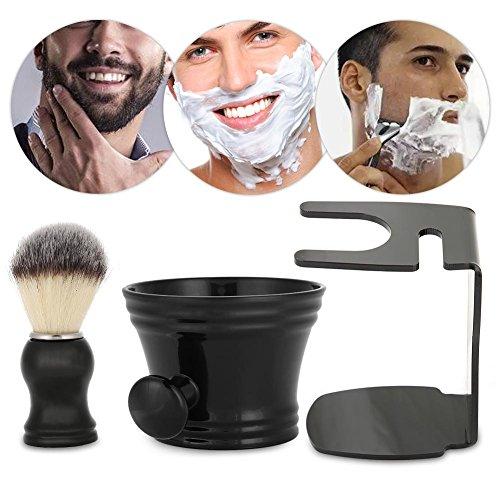 Ensemble de blaireaux, kit de rasage pour barbe 3 en 1 pour homme Bol + pinceau + tablette Poils professionnels Brosse Tasse Cheveux Ensemble de outils pour cheveux Rasoir manuel rasoir mâle