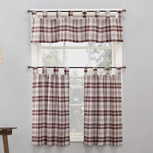 No. 918 Blair Farmhouse Plaid Semi-Sheer Tab Top Kitchen Curtain Valance and Tiers Set, 52' x 36' 3-Piece, Red/Ecru Off-White