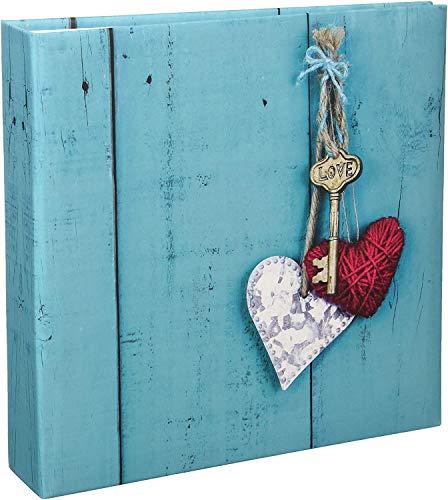 Hama Album photo traditionnel Rustico (album mémo, album de 22,5 x 22,5 cm, 100 pages blanches, 200 photos au format 10x15, idéal pour le scrapbooking, insertion des photos) Love Key