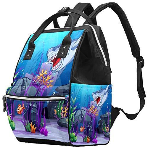 Shark Underwater World Nappy Changing Bag Diaper Sac à dos avec poches isolées, sangles de poussette, grande capacité multifonctionnel élégant sac à couches pour maman papa en plein air