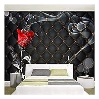 壁画3Dローズフラワーブラックソフトパッケージベッドルームリビングルームテレビ背景壁装飾絵画壁紙