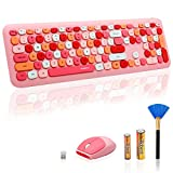 Verilux® Wireless Keyboard and Mouse Combo, Slim 2.4G USB Full Size Wireless Mouse , Keyboard Combo and Cleaning Brush Cute 110 Keys Keyboard for PC, Notebook, MacBook, Tablet - Black (Pink)