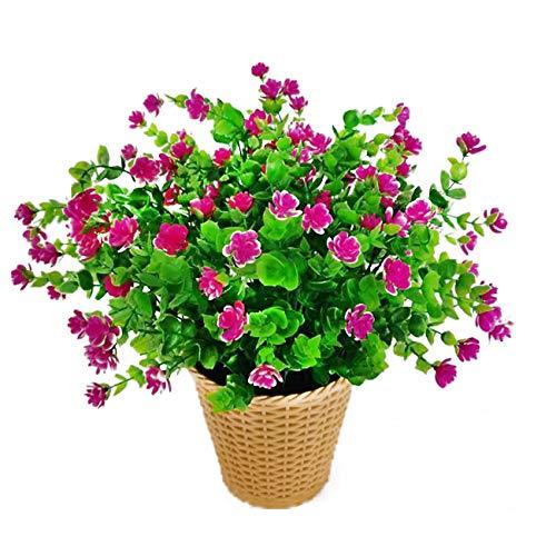 Flores Artificiales de eucalipto, Ramo de Flores de Plantas Verdes, Flores de decoración de plástico para jardín/hogar/Boda/Fiesta, 4 Piezas (Lotus Rojo)