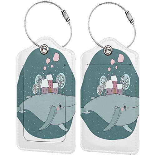 WINCAN Gepäckanhänger Kofferanhänger mit Adressschild,Majestätischer Wal im Himmel, der Häuser mit rauchenden Kaminen und Bäumen auf seinem Rücken trägt (2 Stück)