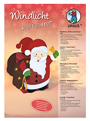 Ursus 1460001 - Windlichter Weihnachtsmann, ca. 10 x 12 cm, Windlicht aus 3D - Colorwellpappe, 8 Blatt Fotokarton in 7 Farben, inklusive Vorlagebogen mit Bastelanleitung, ideal als Tischdeko