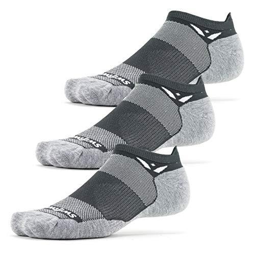 Swiftwick- MAXUS ZERO Tab (3 Pairs) Running & Golf Socks, Maximum Cushion (Gray, Large)