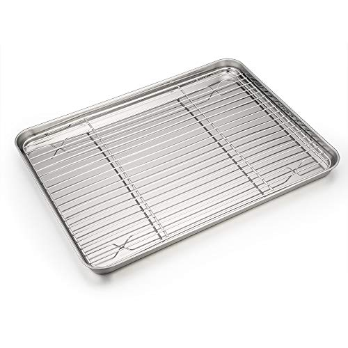 Baking Sheet and Rack Set, P&P CHEF Stainless Steel Cookie Sheet Baking Pan Tray with Cooling Rack, Non Toxic & Healthy, Rust Free & Dishwasher Safe
