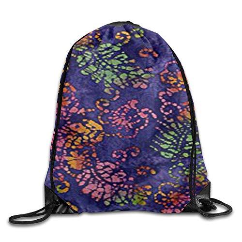 Lsjuee Indian Batik Jewel Box Leaf Drawstring Gym Sport Bag, Large Lightweight Gym Sackpack Backpack For Men and Women