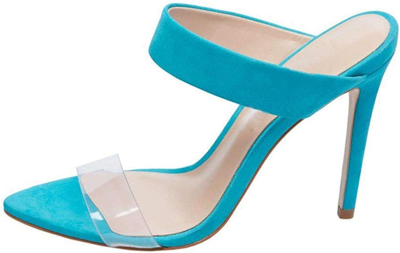 Women's Pointed Rome High Heel Sand Drag Suede Transparent PVC High Heel Flip Flop Summer Beach Sandals (Heel Height  12 cm)