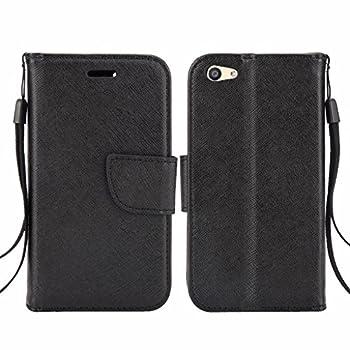 BLU Vivo 5 Mini V050Q Cellphone Wallet Case with Stand Flip Case Hand Band Credit Card Slots  Wallet Black