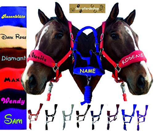 der-pferdeshop.de Halfter Warmblut (Full) oder Vollblut (VB/COB) Fleece unterlegt mit Strick und IHREM PFERDENAMEN (lila/Purple, Vollblut/Cob)