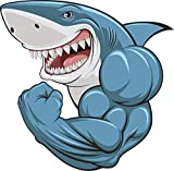 Buff Muscular Scary Smiling Great White Shark Cartoon Vinyl Decal Sticker 5'