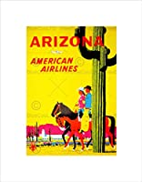 Travel Arizona Air Fly Desert Cactus Cowboy Horse Cowgirl Wall Art Print 旅行砂漠うま壁