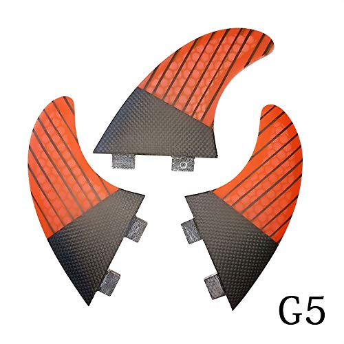 YJDTYM Aletas de Tabla de Surf Twin Tri Fin un Conjunto para FCS Box G5 tamaño Fibra de Vidrio Honeycomb con Carbono M tamaño FCS Fins Surf Fin