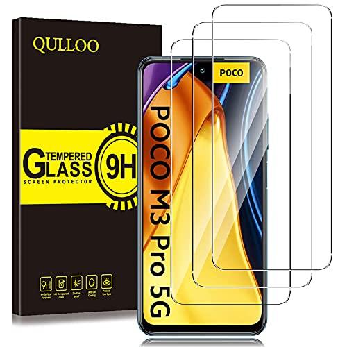 QULLOO Pellicola Protettiva per Xiaomi Poco M3 Pro 5G/ Xiaomi Redmi Note 10 5G, [3 Pezzi] 9H Durezza HD Chiaro Pellicola Vetro Temperato per Xiaomi Poco M3 Pro 5G/ Xiaomi Redmi Note 10 5G