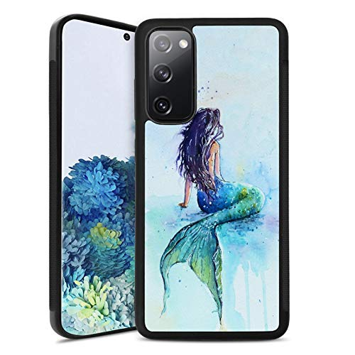Samsung Galaxy S20 FE 5G Case Customized Design Mermaid Pattern,Soft Black TPU Rubber and PC Anti-Slip Full Body Protective Phone Case Suitable for Samsung Galaxy S20 FE 5G