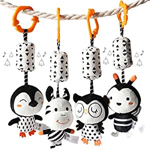 TUMAMA Black and White Baby Toys for 3 6 9 12 Months,Plush Hanging Rattles and Crib Stroller Pram Gym Toys for Boys and Girls