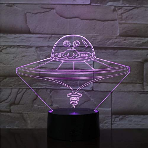 Regalo creativo de la decoración de la sala de estar de la luz de la noche de acrílico del multicolor de la luz del OVNI 3D creativa