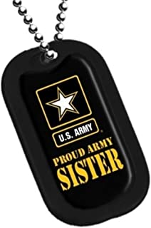 Dog Tag Key Chain Necklace Engrave-Able U.S. Military Proud Army Sister #2775