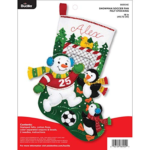 Bucilla Felt Appliques Christmas Stocking Kit, 18', Snowman Soccer Fan