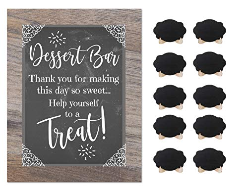 Dessert Bar Party Rustic Chalkboard Paper Sign Wedding Shower Buffet Supplies with 10 Small Mini Chalkboards Accessories (Dessert)
