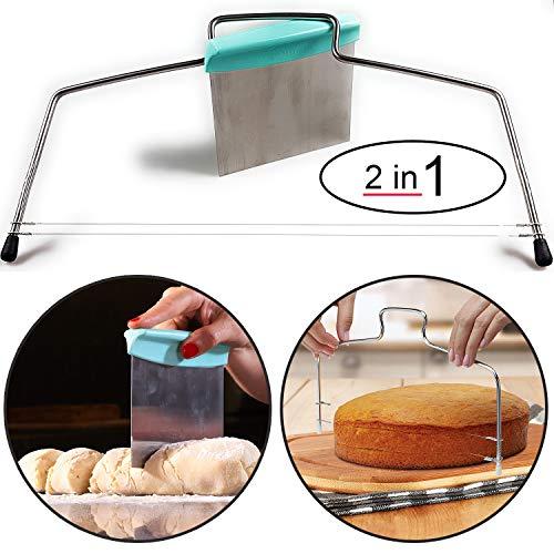 Cortador de suelo para tartas de acero inoxidable con 2 alambres de corte y cortador de masa. Cortador de tartas para suelos de pasteles o de bizcochos, raspador de barbacoa, raspador de masa