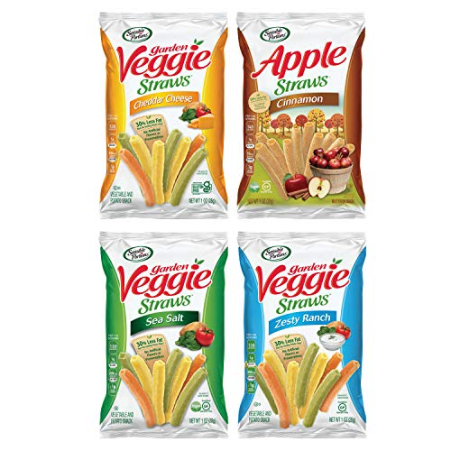 Sensible Portions Veggie Straws, Snack Size Variety Pack, Sea Salt, Ranch, Cheddar, Apple Cinnamon, 1 Oz, Pack of 24