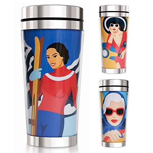 Ekaterina Moré Thermobecher - als Künstleredition, Premium Kaffeebecher - 450ml - Schöne Geschenkidee für Frauen