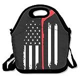 Image of Tesu Bags USA Flag Hockey Stick Outdoor/Travel/Picnic Lunch Bag