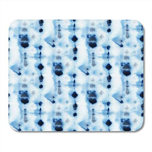 Mauspads Abstrakte Krawattenfarbe Muster der Indigofarbe auf weißer Seide Handmalerei Stoffe Knoten Batik Shibori Färben Mauspad für Notebooks, Desktop-Computer Büromaterial