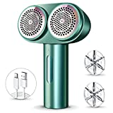 RANVOO Fabric Shaver, Double-Head Lint Remover, Rechargeable 6-Blade Lint Shaver Electric Sweater Shaver with 2 Speeds, 2 Replaceable Stainless Steel Blades, Remove Clothes Fuzz, Lint Balls, Pills
