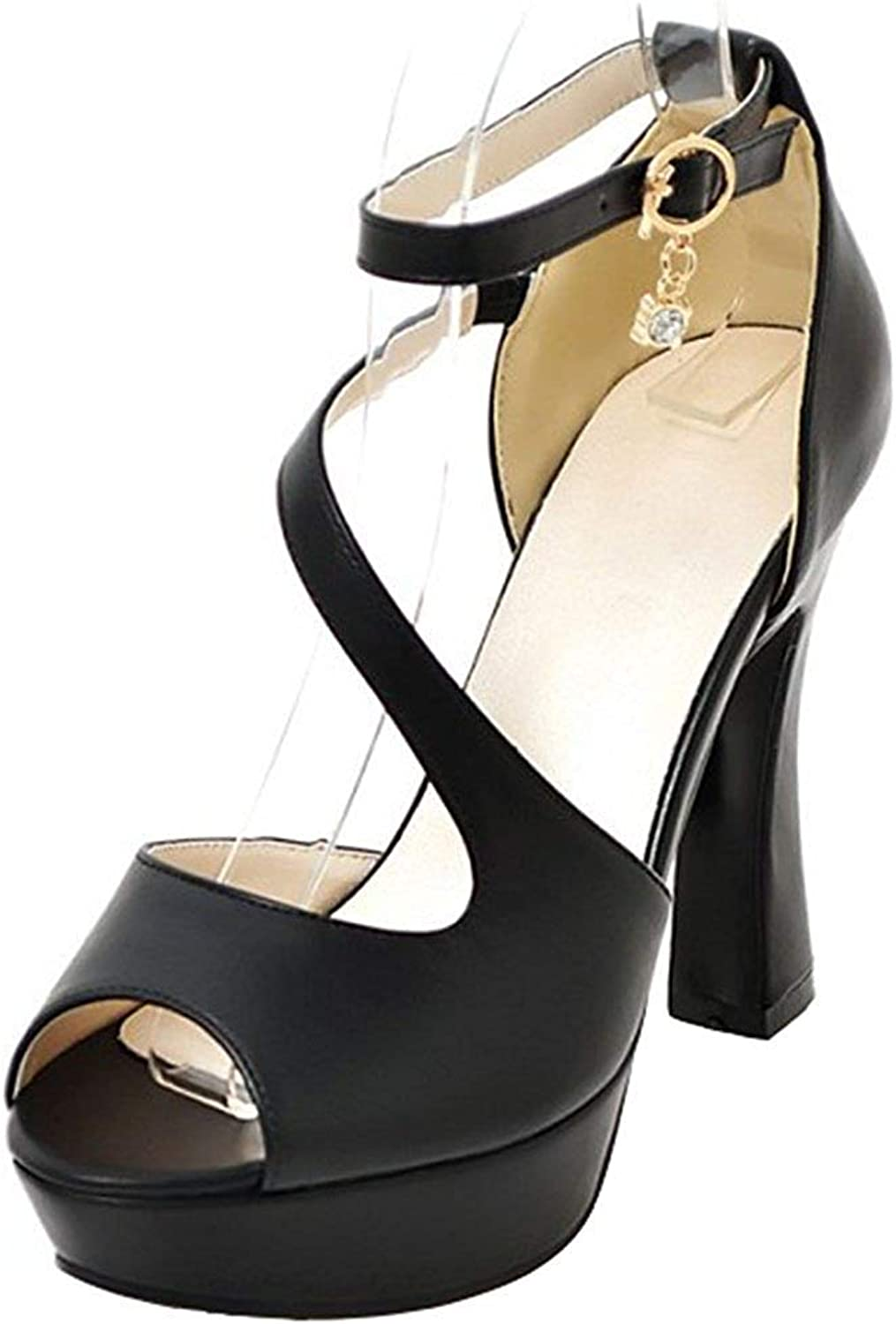 Wallhewb Women's Dressy Ankle Strap Sandals - Peep Toe Pendant Strappy - Buckle Platform Chunky High Heels shoes Leather Comfortable Sweet Breathable Dexterous White 8 M US Strap Sandals