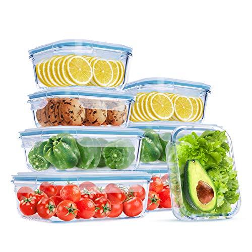 Wemk Set di Contenitori per Alimenti in Vetro, capacità Totale 8000 ml, Impilabile 8 Pezzi, Senza BPA, per Cucina Domestica o Ristorante