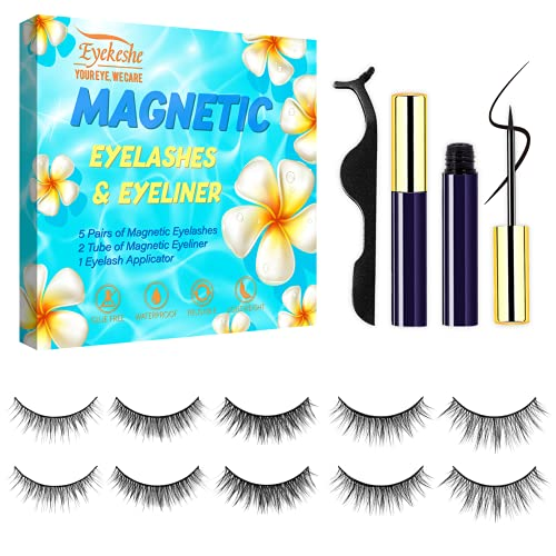 2021 Upgraded Magnetic Eyeliner with Eyelashes, Natural & Dramatic Look Magnetic False Lashes with Applicator,Reusable,Easy to Remove and No Glue Needed(5 Pairs)