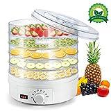 Deshidratador Alimentos 350W de 5 Bandejas sin BPA, Temporizador Ajustable 35 °C-70 °C, para Carnes, Frutas Verduras Carne Flores y Vegetales,sin BPA Desecadora de Fruta