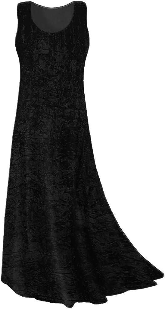 Plus Size Tank Dress Black Crush Princess Velvet Houston Large-scale sale Mall Cut Maxi Lengt