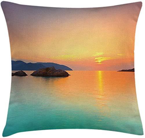 Keyboard cover Butlerame Beach Throw Kissenbezug, Magischer Sonnenaufgang über dem Meer in Con Dao Vietnam Bunte Sky Horizon Skyline, 18x18 Zoll, Orange