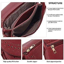 Forestfish Ladie's PU Leather Vintage Hollow Bag Crossbody Bag Shoulder Bag (Dark Red)