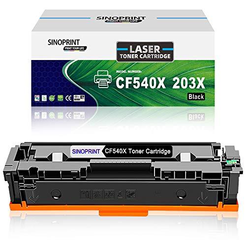 SINOPRINT - Cartucho de tóner Compatible para HP 203X CF540X 203A CF540A para Color Laserjet Pro MFP M281fdn M281fdw M280nw M281cdw, Pro M254dn M254dw M254nw HP203X HP203A (1 Negro)