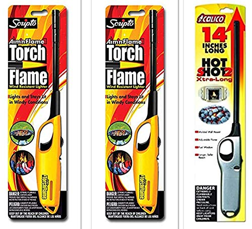 3 Pack - 1 Pack Calico Hot Shot 2 Xtra Long + 2 Pack Scripto Multi Purpose Wind Resistant Lighter (Assorted Color)